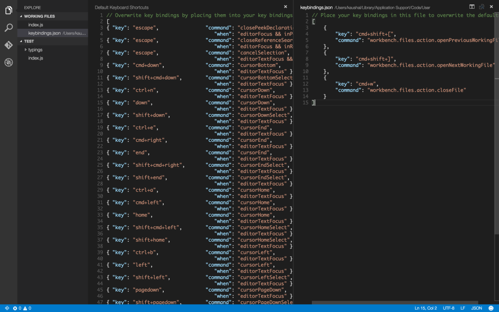 VSCode keybindings file